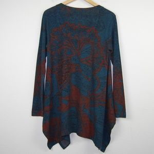 Soft Surroundings Sweaters - Soft Surroundings Sweater Tunic Floral Green Brown